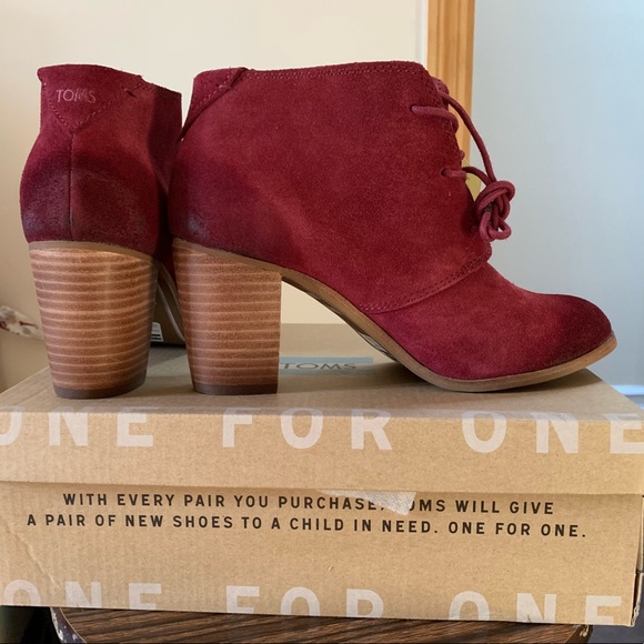 827a48824b7 Oxblood Burnished Suede Lunata Lace-Up Booties. NWT. Toms